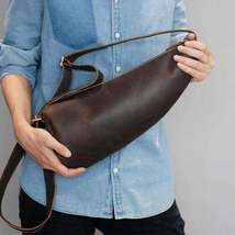 On Sale, Horse Leather Men Chest Pack, Handmade Chest Bag, Messenger Bag image 4