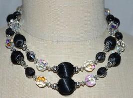 VTG VENDOME Silver Tone Black Textured Bead Crystal Dual Strand Necklace - $49.50