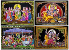 10pc-25pc Indian Gods & Goddess Sequin Cotton Wall Hanging Medium Wholes... - $59.99+