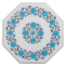 "12"" Marble Side Coffee Table Turquoise Inlaid Floral Living Room Gifts D... - €299,38 EUR"