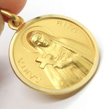 SOLID 18K YELLOW GOLD HOLY ST SAINT SANTA RITA ROUND MEDAL MADE IN ITALY, 15 MM image 3