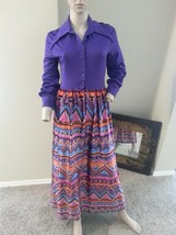 VTG 60's Bobbie Brooks Chevron ZigZag Stripe Lion Psychedelic Print Maxi Dress - $37.99