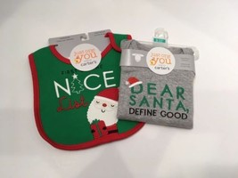 Carter's Just for You Christmas Infant Bib & Body Suit, Size 3 month NWT M1 - $10.36
