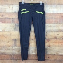 Rock & Republic Banshee Women's Jrs Black Green Zippers Super Skinny Jea... - $16.79
