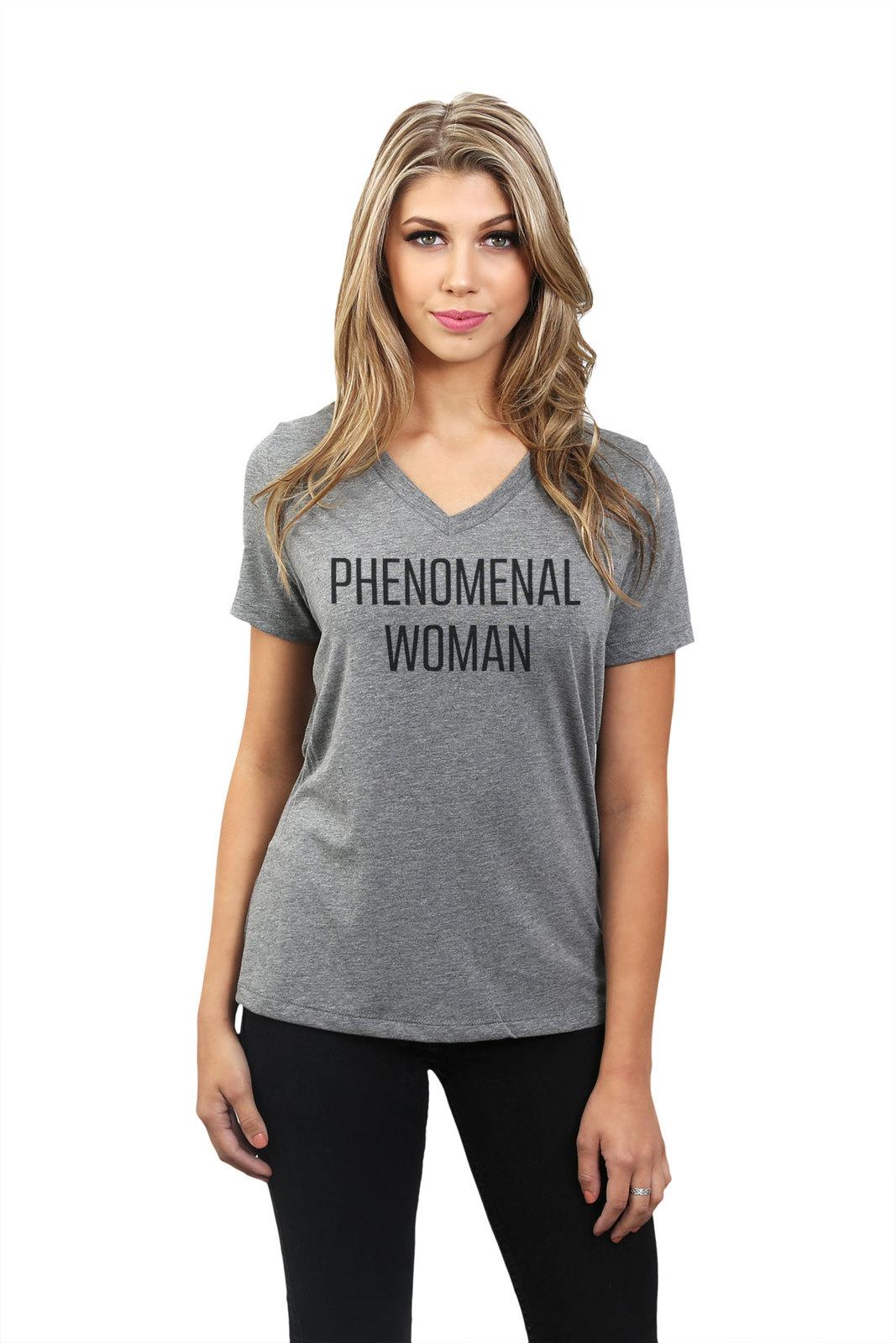 Thread Tank Phenomenal Woman Women's Relaxed V-Neck T-Shirt Tee Heather Grey
