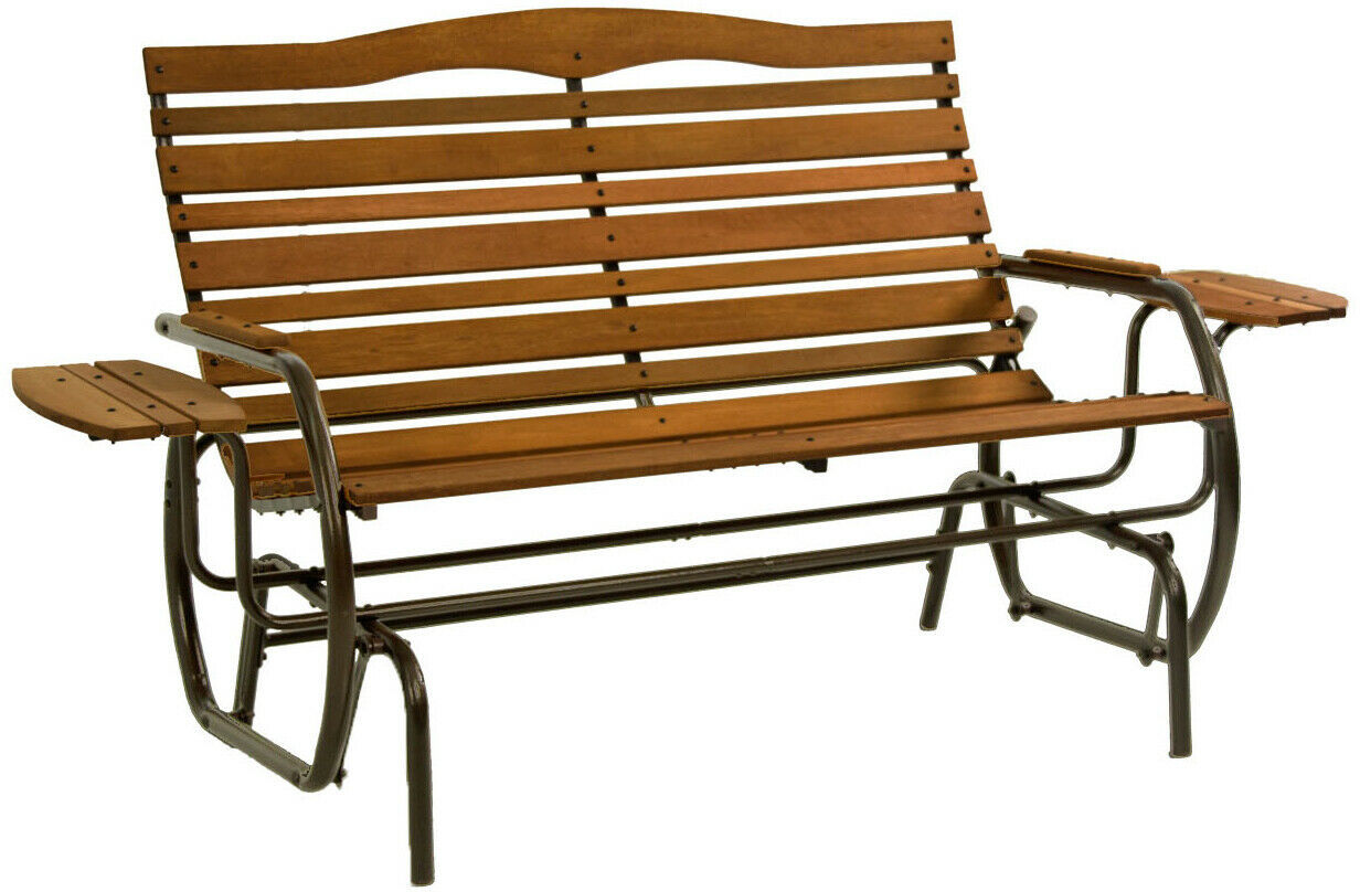 Wood Patio Bench Glider With Trays Outdoor Garden Porch Swing Chair Loveseat image 2