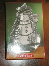 Vintage  Home for the Holidays SNOWMAN CANDY DISH Christmas Silver Finis... - $5.95