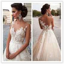 Jewel Neckline Wedding Dress, Mermaid Wedding Dress,Lace Wedding Dress,W... - $196.00