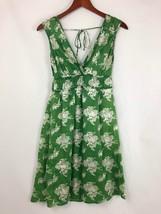Porridge Green White Floral Silk Dress Sz 2 Anthropologie V Neck Back Tie - $19.79