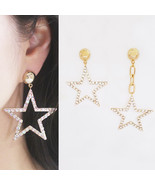 Unbalanced Large Star Dangle Drop Earrings Czech Hot Fix Gold Tone 925 S... - $31.31