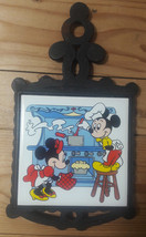 Vintage Cast Iron Trivet Tile Ceramic Walt Disney Mickey Mouse & Minnie ... - $25.45
