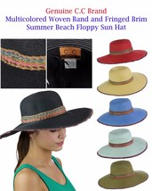 NEW C.C Multicolored Woven Band and Fringed Brim Summer Beach Floppy CC ... - $17.99