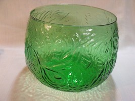 ANTIQUE VICTORIAN MOLD BLOWN  EMBOSSED GREEN GLASS ROSE BOWL - $84.15