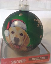 Christmas Ornament Golden Labrador Retriever Dog Green Glass Ball - $11.88