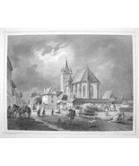 ROMANIA Sebes Evangelical Lutheran Church - 1870s Original Engraving Print - $30.22