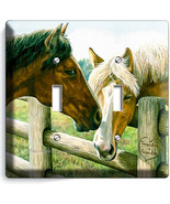 AMERICAN COUNTRY FARM LOVE HORSES KISSING 2 GANG LIGHT SWITCH WALL PLATE... - $11.69