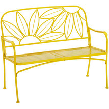 Hello Sunny Metal Yellow Outdoor Patio Bench Loveseat Backyard Garden Furniture image 1