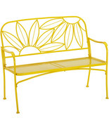 Hello Sunny Metal Yellow Outdoor Patio Bench Loveseat Backyard Garden Fu... - $159.35