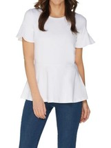 ISAAC MIZRAHI LIVE! Size 3X Knit Peplum Top with Short Ruffle Sleeve WHITE - $44.54