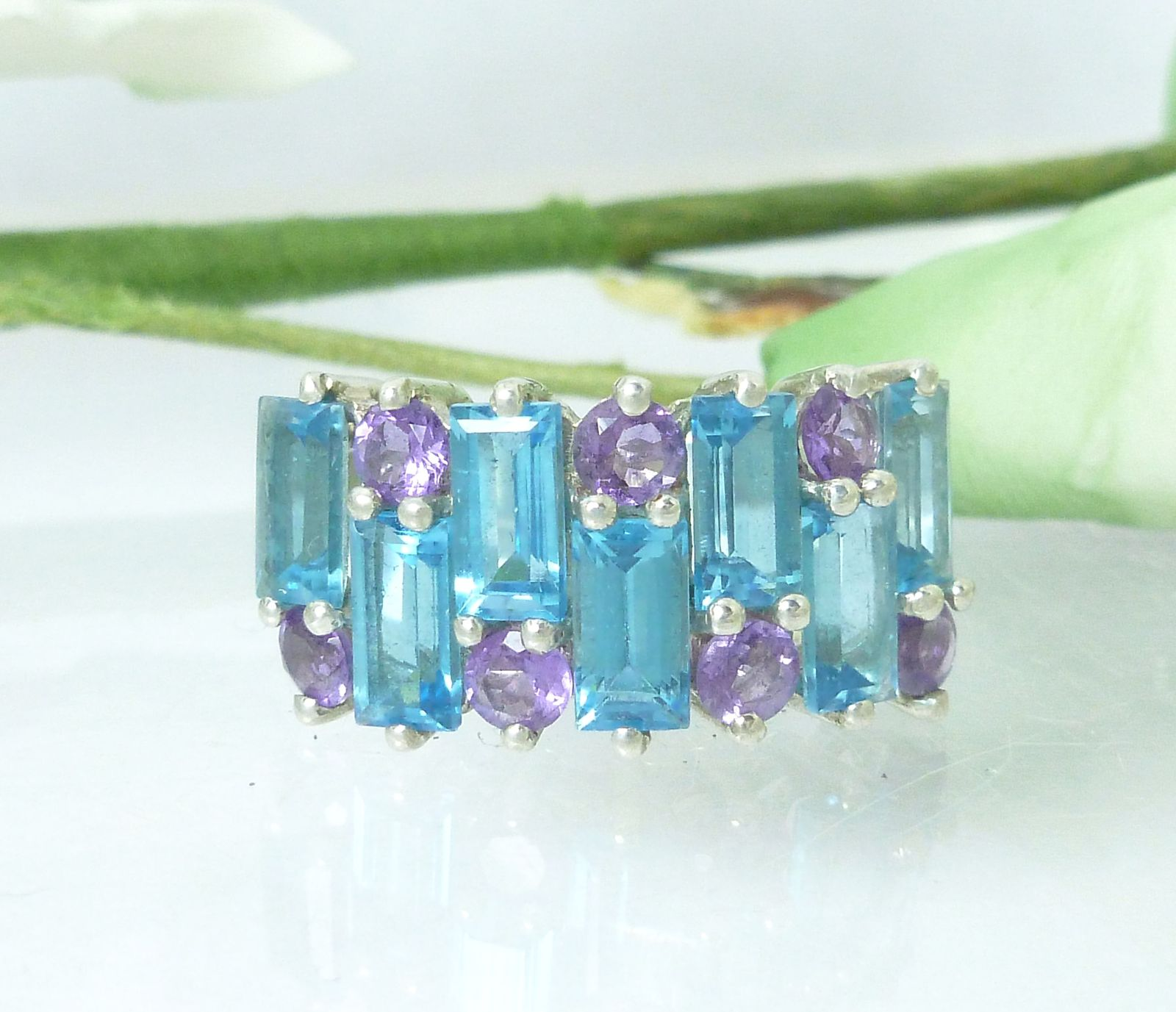 3 ct tw Sterling Blue Topaz and Amethyst Band Ring