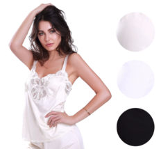 Illusion Women's Premium Nylon Lace Inset Camisole Slip Top With Lace Trim 2032