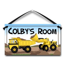 "Big Yellow Trucks, Kids Door Sign, 5.5"" x 10.5"", Personalized Name Plaque - $13.00"
