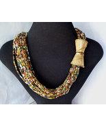 Vintage Bohemian Multi Color Glass Bead Long Torsade Necklace Huge Clasp... - $39.00