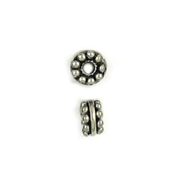 2pcs. Beaded Fine Pewter Cast Spacer Bead - 7x5x5mm; Hole 2mm
