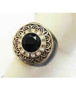Kiam Family Lia Sophia Ring Jenny Size 6.5 Excellent! Black Gold Crystal - $15.52