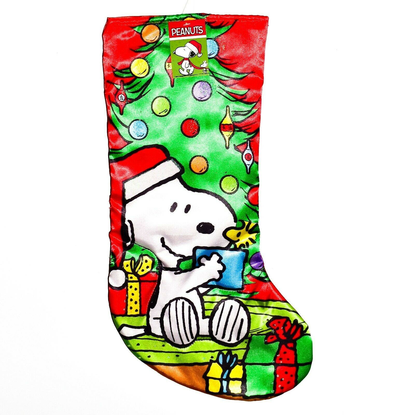 "Kurt S Adler Peanuts Snoopy Christmas Tree Presents 18"" Printed Satin Stocking"