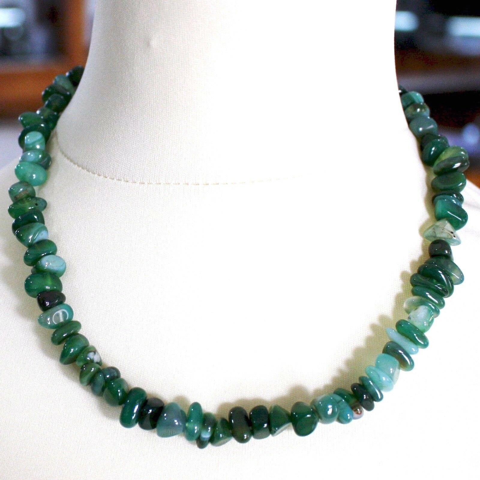 Collar de Plata 925 con Ágata Verde Bandas, 50 o 75cm Largo