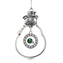 Inspired Silver White and Green Team Helmet Circle Snowman Holiday Christmas Tre - $14.69
