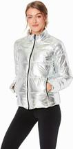 Marc New York Metallic Puffer Jacket Medium Silver Shimmering Rock Star ... - $89.00