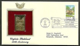 22 kt Golden Replica of US Stamp 1988 FDC Virginia Statehood - $2.27