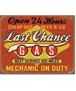 New Last Chance Gas Station Next Service 100 Miles Decorative Metal Tin ... - $9.41