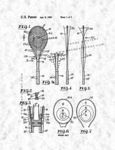 Tennis Racquet Patent Print - Gunmetal - $7.95+