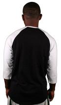 "Omit ""O"" Leagues Mens Black White Raglan 3/4 Sleeve T-Shirt NWT image 2"