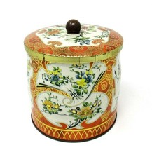 VTG Collectible DECORATIVE TIN Orange w/ Floral Design by DAHER Made in ... - $9.41