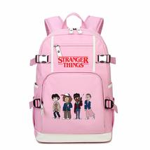 Stranger Things Kid Backpack Schoolbag Bookbag Daypack Pink Large Bag H - $51.97 CAD