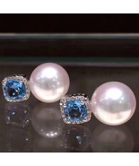 Big size Japanese Akoya pearl and topaz stud drop earrings with 18K gold women  - $690.87