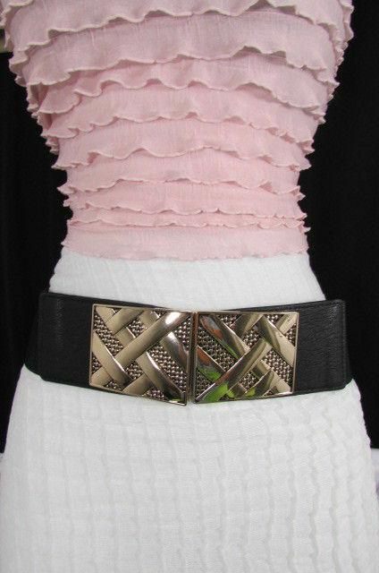 Nero,da Donna Elastico Moda Cintura Vita Metallo Oro Strisce Fibbia Quadrata S M image 12