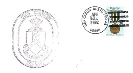 CARON (DD-970) 1 Apr 1992 Locy Type 2-2tn(USS,APO AE 09566) Ship's Crest... - $3.47