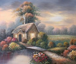 Bridge to a Quiet Cottage 20 x 24 original oil painting on canvas - $79.19