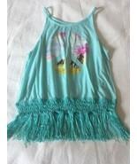 Girls Size Medium 10-12 Arizona Jean Co Aqua Fringed Tank Top Peace Hors... - $14.00