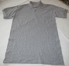 Gildan Activewear Ultra Blend adult mens short sleeve Polo shirt L Grey heather - $13.36