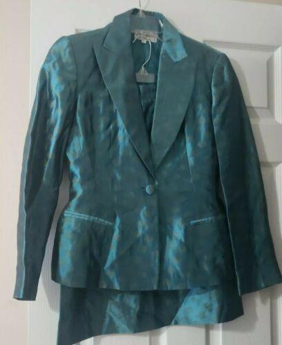 Women's Giorgio Armani Le Collezioni Silk Skirt Suit Teal w/ Gold Size 6 Jacket