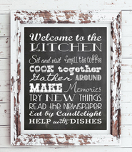 Kitchen Rules 8x10 Typography Art Print, Rustic Look Faux Chalkboard - No Frame - $7.00