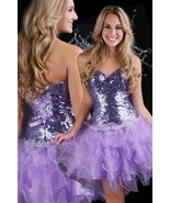 Flirty Sexy Strapless Sequined Short Evening Gown/Prom Dress, Purple Spa... - €160,58 EUR