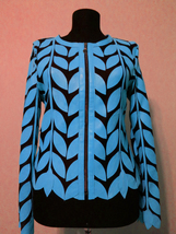 Round Neck Light Blue Leather Leaf Jacket Womens All Colors Sizes Zip Sh... - $115.00