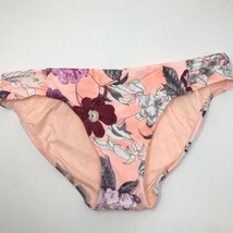 Seafolly Womens Size 14 Modern Love Retro Swim Bikini Bottom Peach Flora... - $28.04